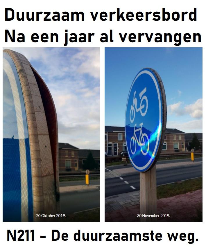 Duurzaam verkeerbord na een jaar al vervangen